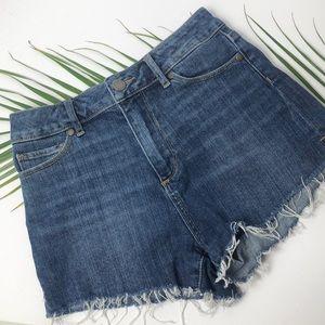 Paige mid rise raw edge jean shorts